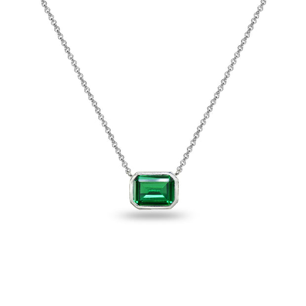 Sterling Silver Created Emerald 8x6mm Octagon-Cut Bezel-Set Solitaire Dainty Choker Necklace