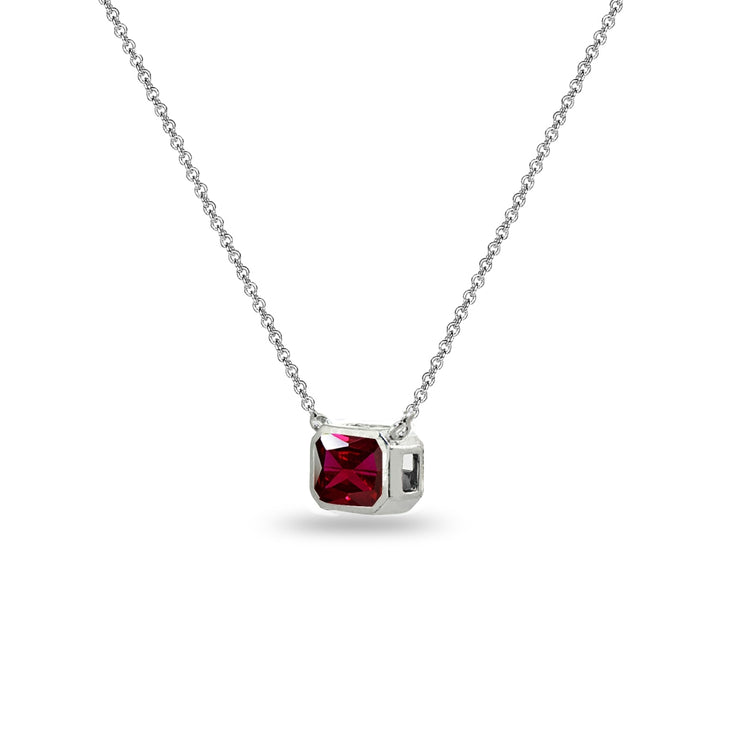 Sterling Silver Simulated Ruby 8x6mm Octagon-Cut Bezel-Set Solitaire Dainty Choker Necklace