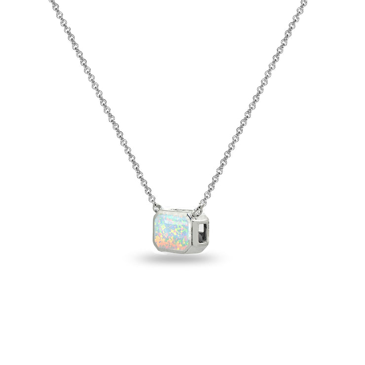 Sterling Silver Created White Opal 8x6mm Octagon-Cut Bezel-Set Solitaire Dainty Choker Necklace