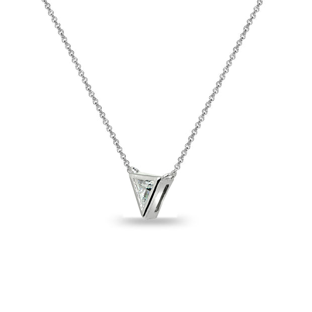 Sterling Silver 6mm Triangle-Cut Bezel-Set Solitaire Choker Necklace Made with Swarovski Zirconia