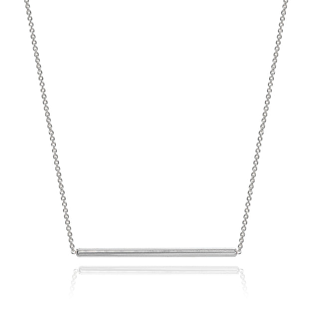 Sterling Silver Polished Horizontal Bar Simple Minimalist Dainty Necklace