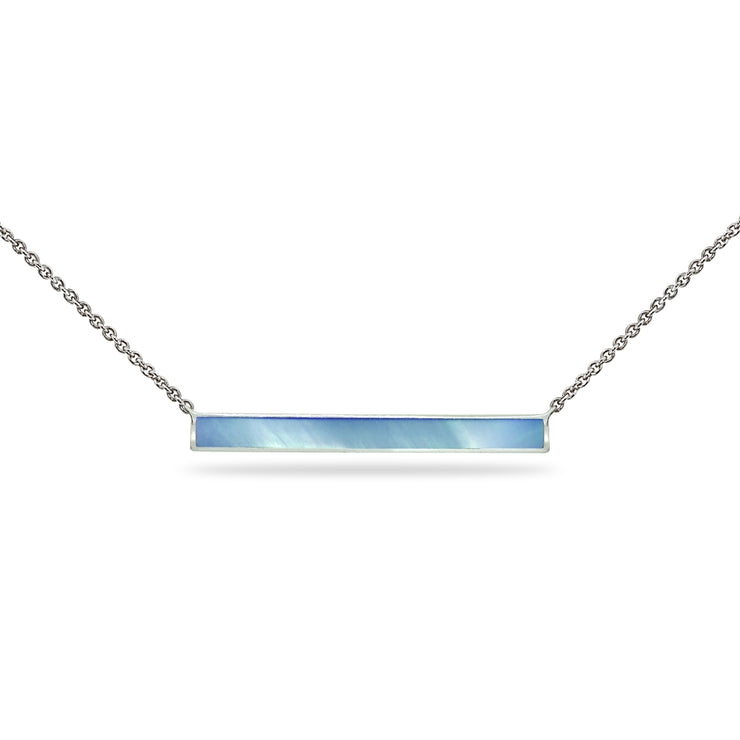 Sterling Silver Polished Blue Shell Inlay Horizontal Bar Dainty Necklace