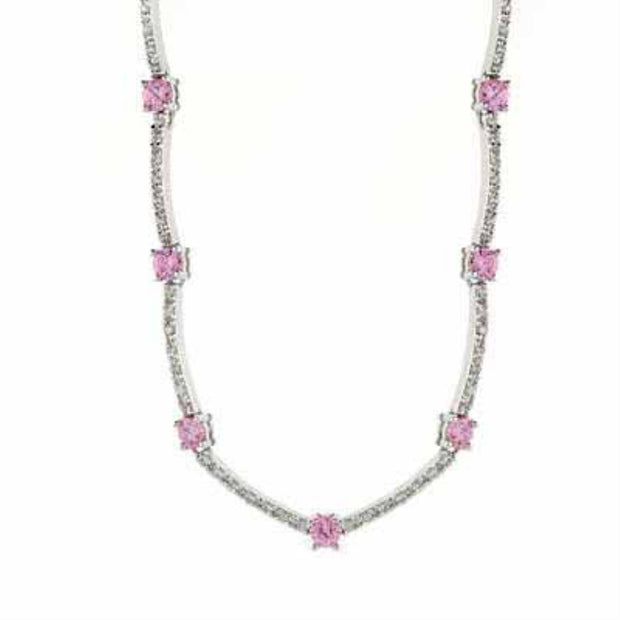 Sterling Silver Pink & Clear CZ Necklace