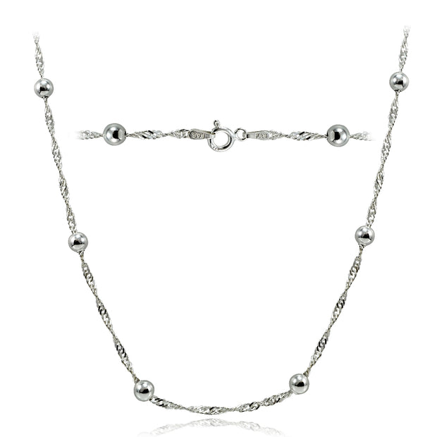 Sterling Silver Italian Diamond-Cut Chain Necklace with Beads 24-Inches