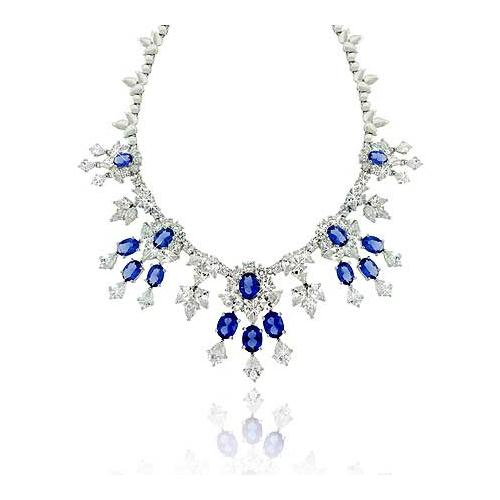 Estate Sterling Silver .925 Created Diamond &Tanzanite cz Stone WaterFall Necklace