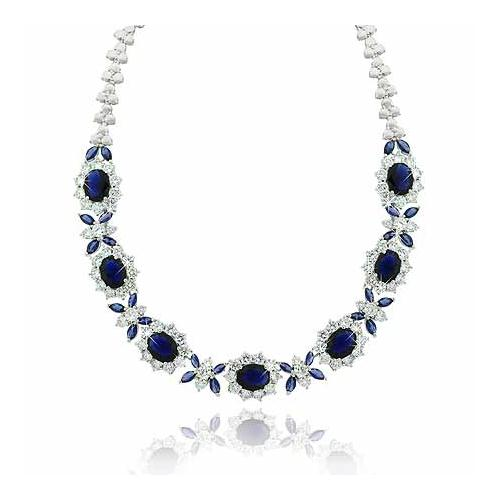 Estate Sterling Silver .925 Created Diamond  & Created Blue Sapphire cz Stone Necklace 16""