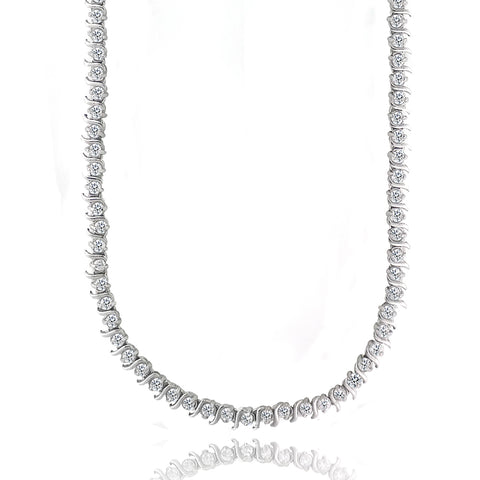 12ct CZ S Design Tennis Necklace, 17""