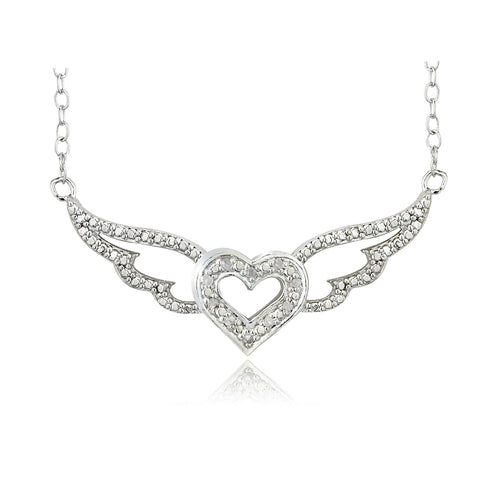 1/10 Ct Diamond Heart Angel Wings Necklace