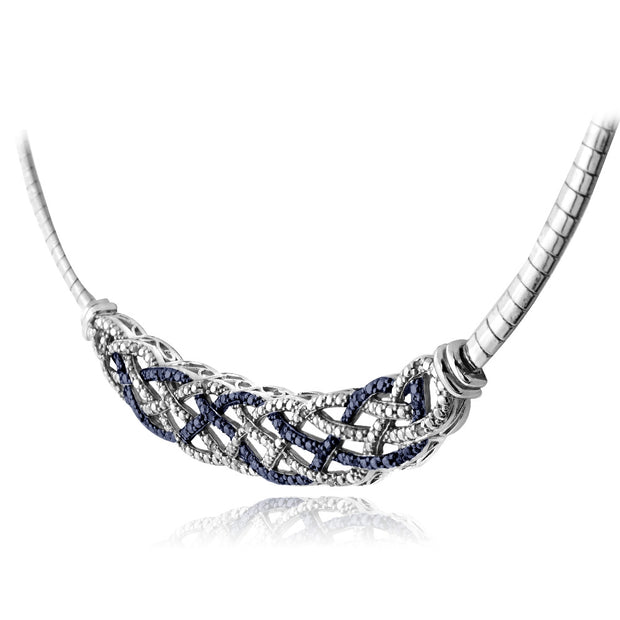 1/4 Carat Blue & White Diamond Weave Frontal Necklace