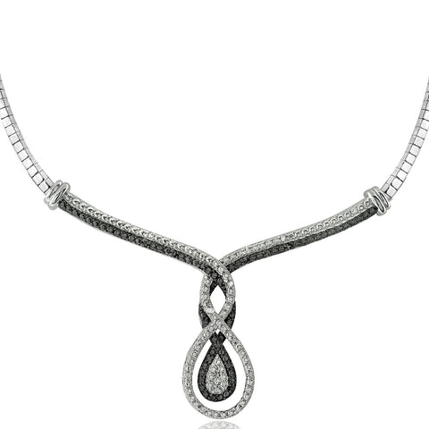 1/4 Ct Black & White Diamond Intertwining Infinity Frontal Necklace