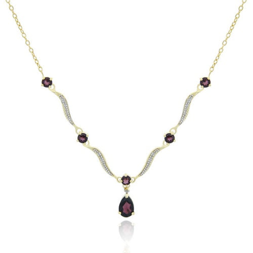 18K Gold over Sterling Silver Genuine Garnet Wave Necklace