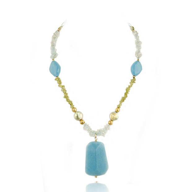 18K Gold over Silver Blue Quartz, Peridot Chips, Beads, Coin Pearls & Dangling Blue Quartz Stone Fashion Necklace