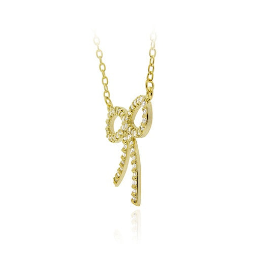 18K Gold over Sterling Silver CZ Bow Tie Pendant Necklace 18""