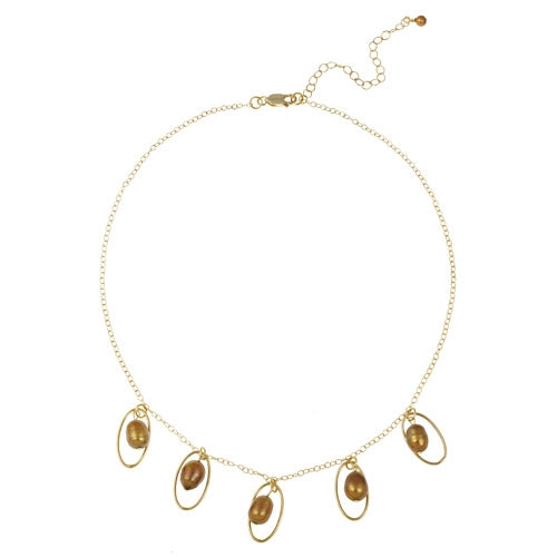 18K Gold over Sterling Silver Freshwater Cultured Golden Pearl Dangle Necklace