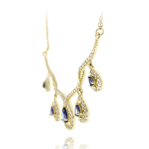 18K Gold over Sterling Silver Tanzanite CZ Dangling Teardrops Frontal Necklace