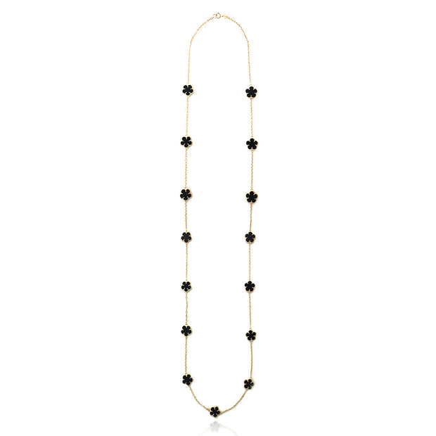 18K Gold over Sterling Silver Onyx Clover Necklace, 36 inch