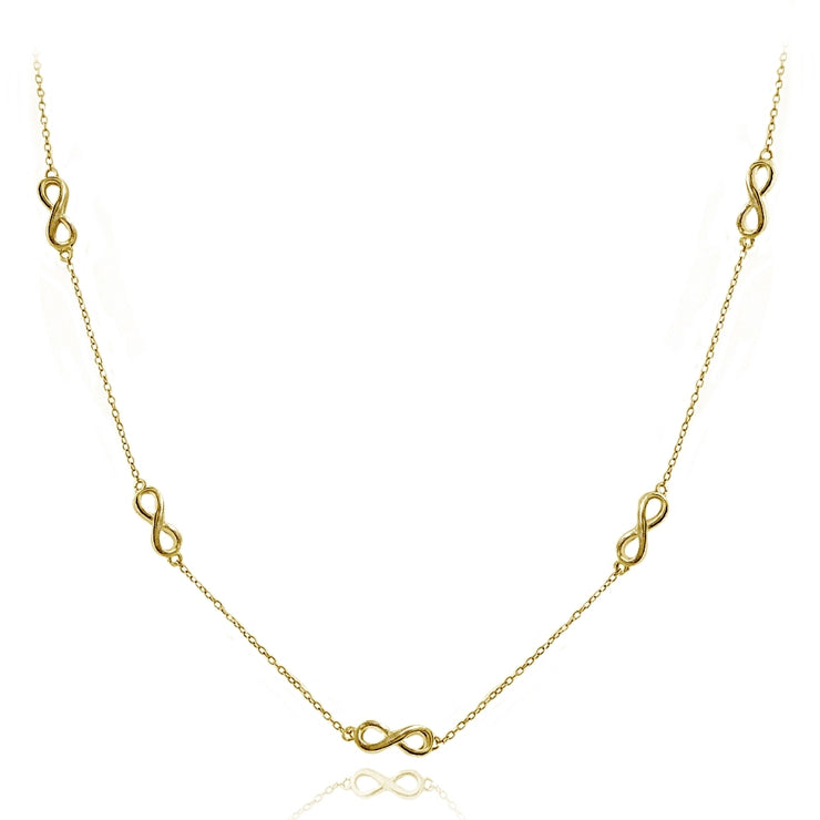 Yellow Gold Flashed Sterling Silver Polished Infinity Station Necklace, 24 inches