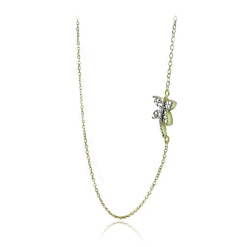 Gold Tone over Sterling Silver Diamond Accent Dragonfly Necklace