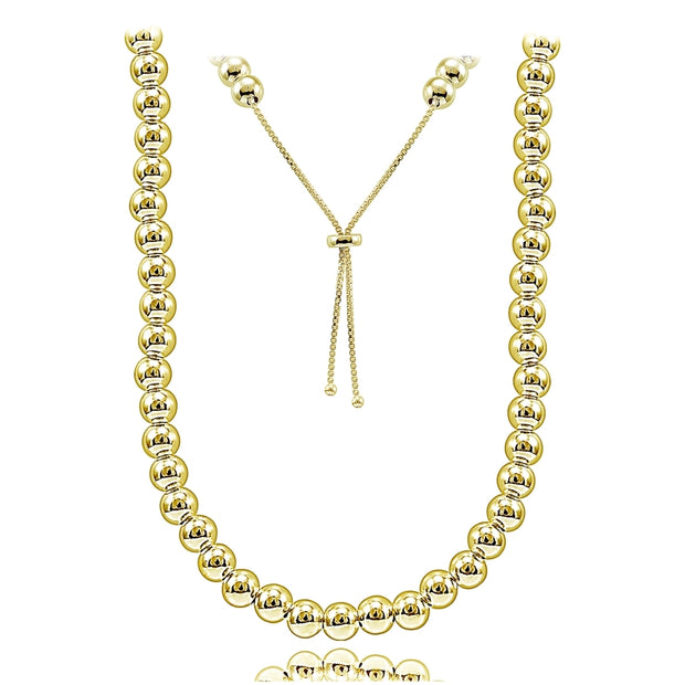 Gold Tone over Sterling Silver 6mm Beads Adjustable Necklace