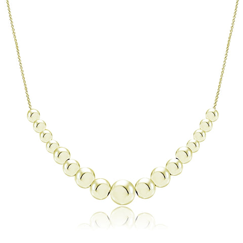 Gold Tone over Sterling Silver Graduated Polished Bead Necklace