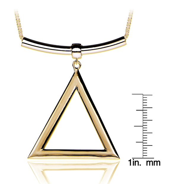 Gold Tone over Sterling Silver Triangle and Bar Adjustable Necklace 24 Inches