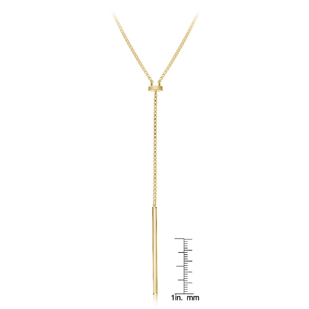 Gold Tone over Sterling Silver Y Shape Adjustable Necklace 30 Inches
