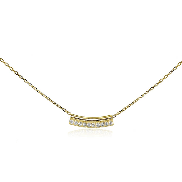 Yellow Gold Flashed Sterling Silver Cubic Zirconia Bar Choker Necklace
