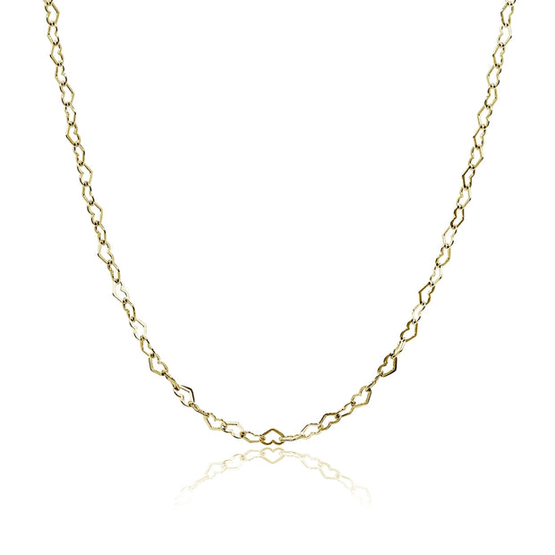 Yellow Gold Flashed Sterling Silver Heart Link Chain Necklace, 30 Inches