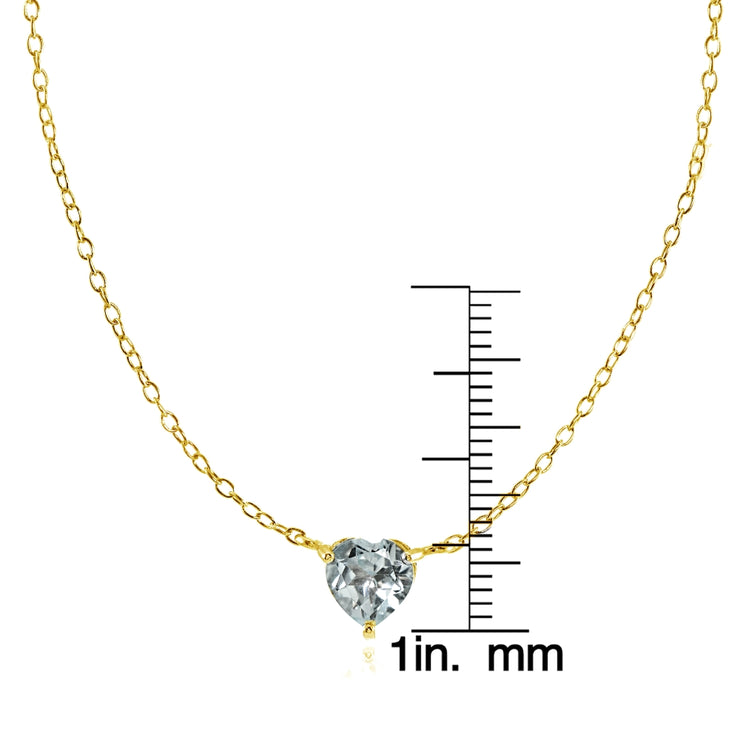 Yellow Gold Flashed Sterling Silver Small Dainty Aquamarine Heart Choker Necklace