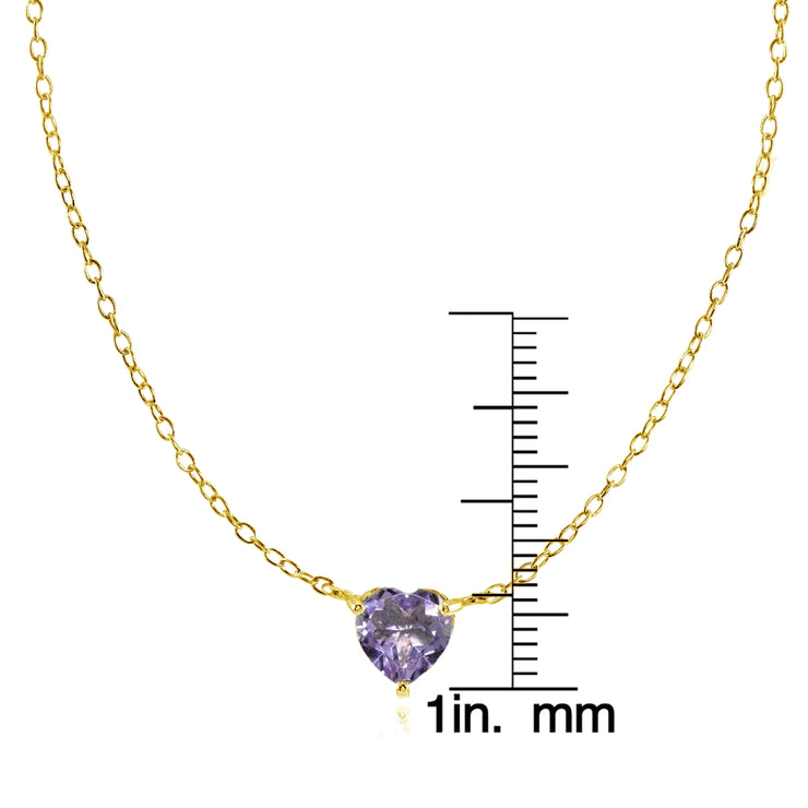 Yellow Gold Flashed Sterling Silver Small Dainty Created Alexandrite Heart Choker Necklace
