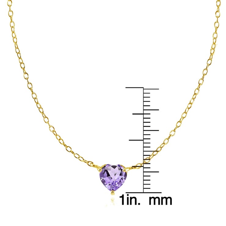 Yellow Gold Flashed Sterling Silver Small Dainty Amethyst Heart Choker Necklace