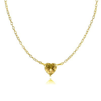 Yellow Gold Flashed Sterling Silver Small Dainty Citrine Heart Choker Necklace