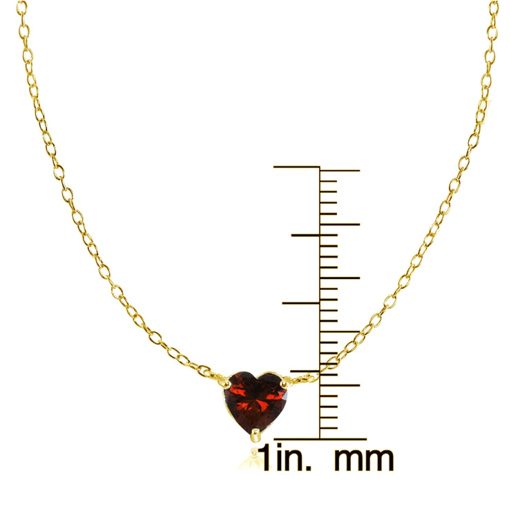 Yellow Gold Flashed Sterling Silver Small Dainty Garnet Heart Choker Necklace