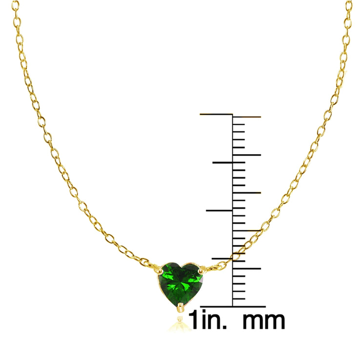 Yellow Gold Flashed Sterling Silver Small Dainty Created Emerald Heart Choker Necklace