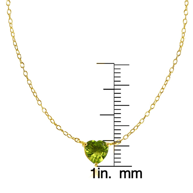 Yellow Gold Flashed Sterling Silver Small Dainty Peridot Heart Choker Necklace