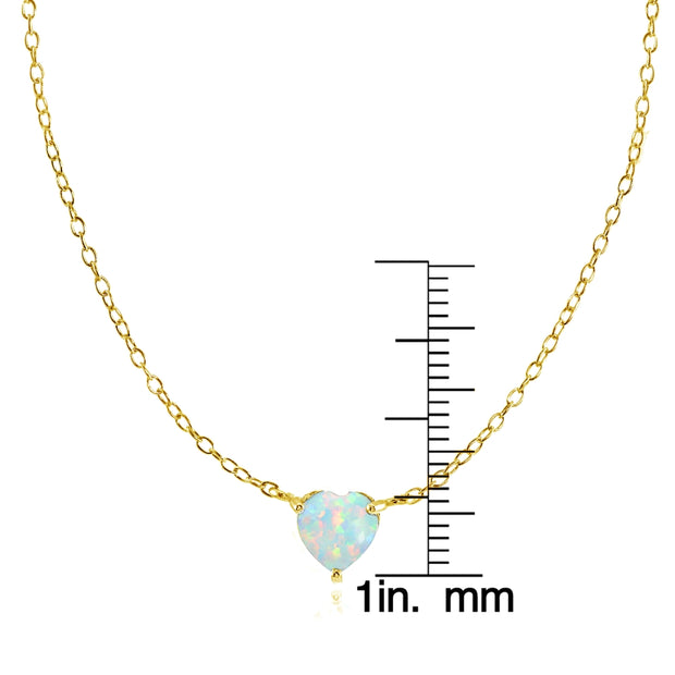 Yellow Gold Flashed Sterling Silver Small Dainty Simulated White Opal Heart Choker Necklace