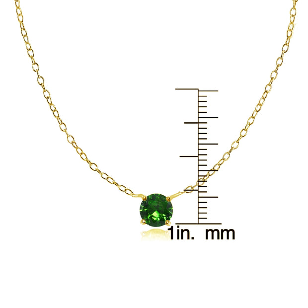Yellow Gold Flashed Sterling Silver Small Dainty Round Simulated Emerald Choker Necklace