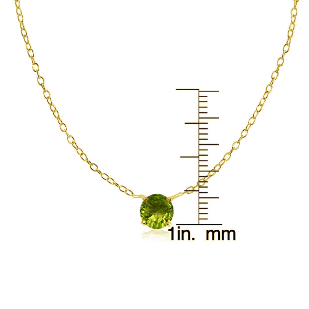 Yellow Gold Flashed Sterling Silver Small Dainty Round Peridot Choker Necklace