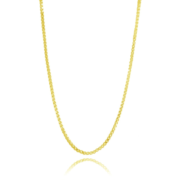 Yellow Gold Flashed Sterling Silver 1mm Box Chain Dainty Necklace, 16 Inches