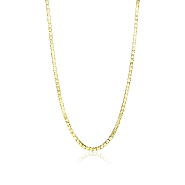 Yellow Gold Flashed Sterling Silver 1.3mm Box Chain Dainty Necklace, 30 Inches