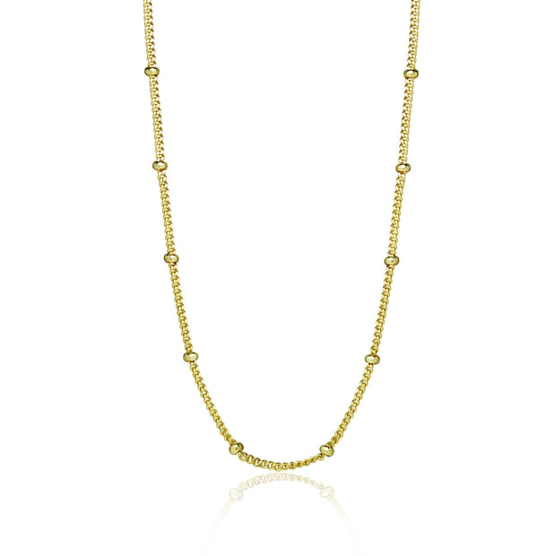 Yellow Gold Flashed Sterling Silver 2mm Bead Station Cable Chain Necklace, 30 Inches