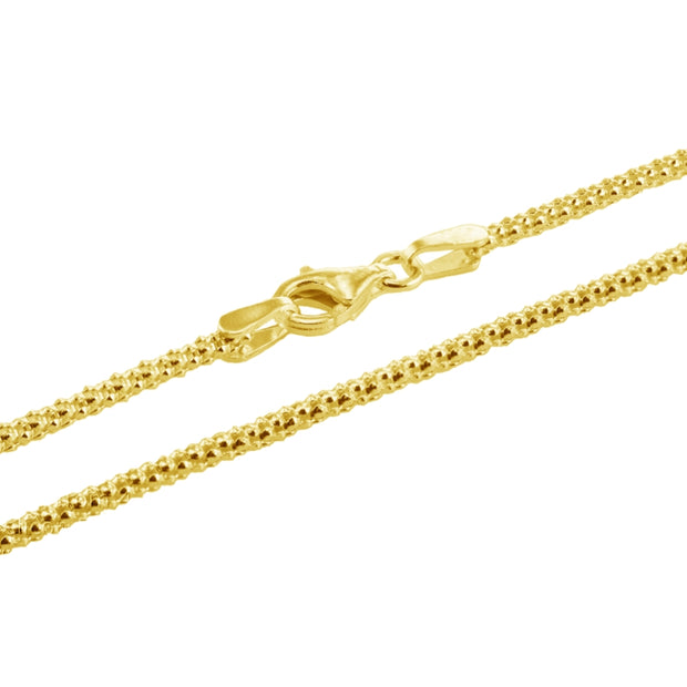 Yellow Gold Flashed Sterling Silver 1.5mm Popcorn Chain Necklace, 30 Inches