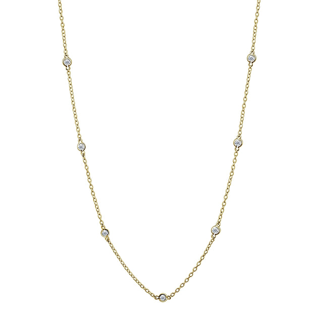 Yellow Gold Flashed Sterling Silver CZ Station Dainty Chain Necklace, 36 Inches