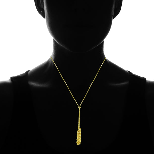 Yellow Gold Flashed Sterling Silver Flat Fashion-Link Chain Tassels Drop Y-Necklace