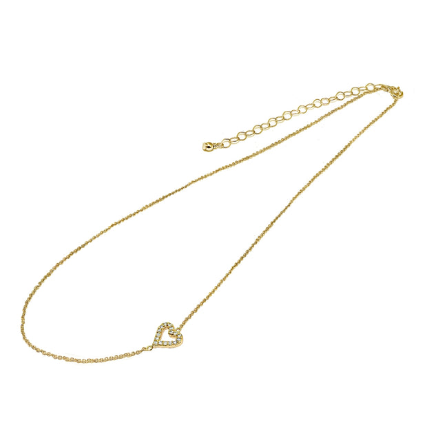 "Yellow Gold Flashed Sterling Silver Cubic Zirconia Dainty Heart Sideways Chain Necklace, 16"" + Extender"