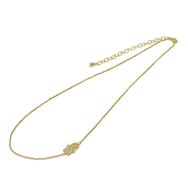 "Yellow Gold Flashed Sterling Silver Cubic Zirconia Hamsa Hand Sideways Chain Necklace, 16"" + Extender"