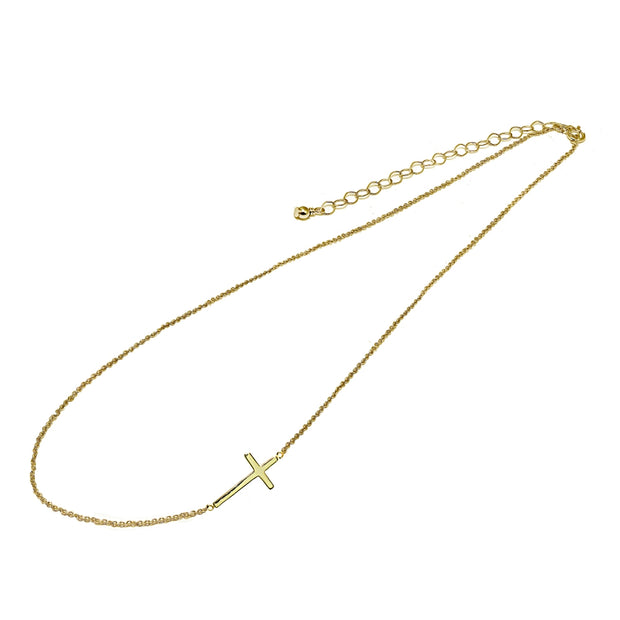 "Yellow Gold Flashed Sterling Silver Polished Cross Sideways Chain Necklace, 16"" + Extender"