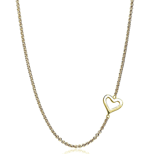 "Yellow Gold Flashed Sterling Silver Polished Open Heart Sideways Chain Necklace, 16"" + Extender"