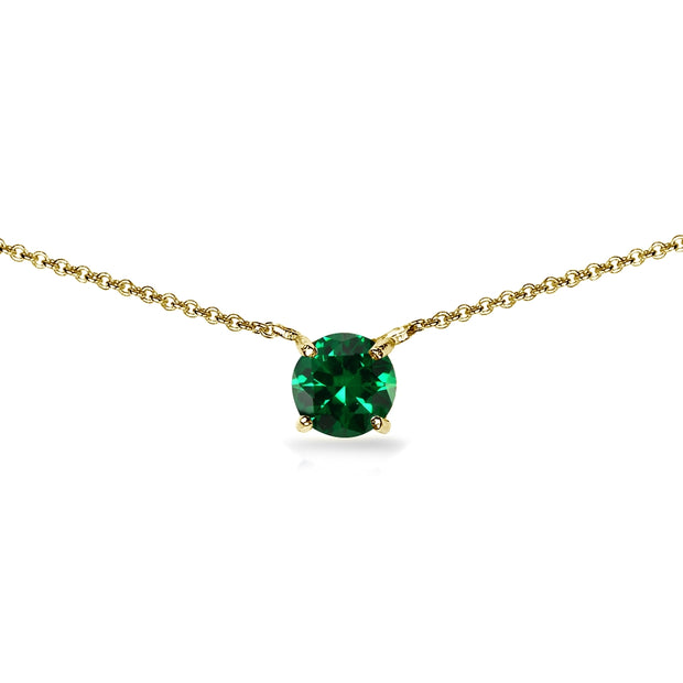 Yellow Gold Flashed Sterling Silver Simulated Emerald 7mm Round Dainty Choker Necklace