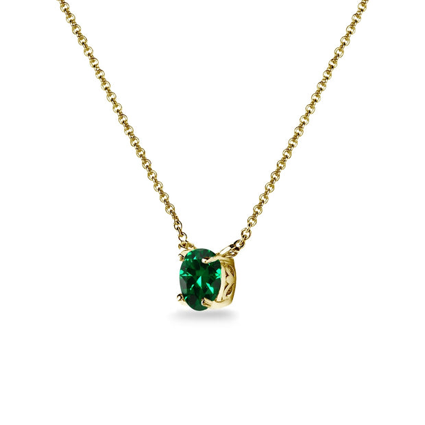Yellow Gold Flashed Sterling Silver Simulated Emerald 7x5mm Oval Dainty Choker Necklace